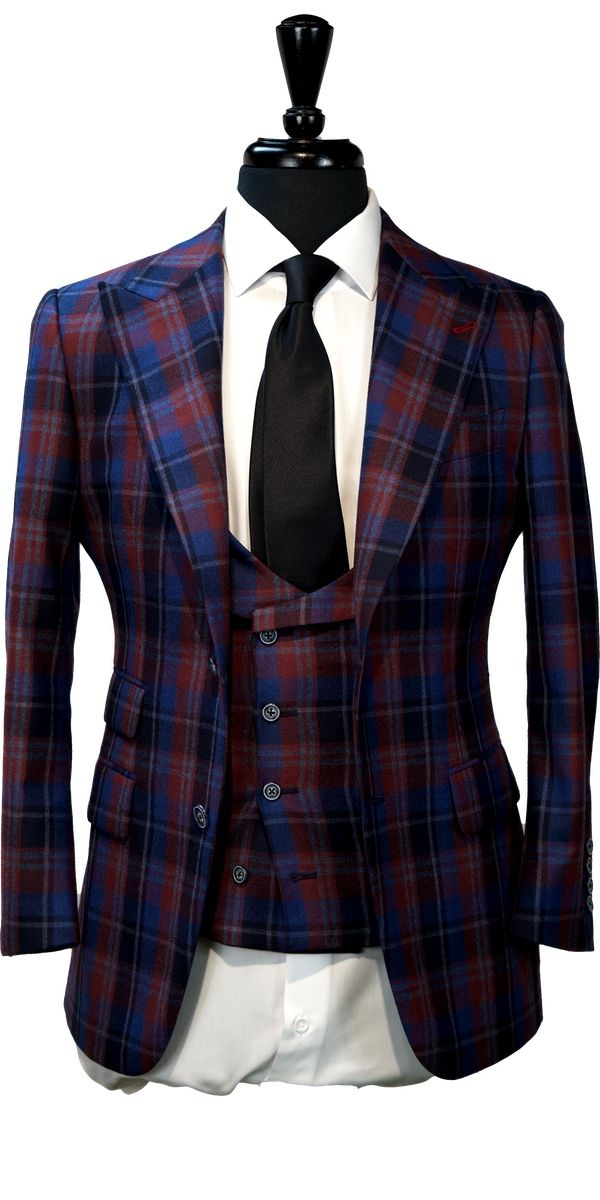 Red Blue Plaid Wool Suit