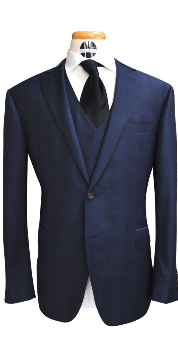Navy Blue with Black Windowpane Wool Suit