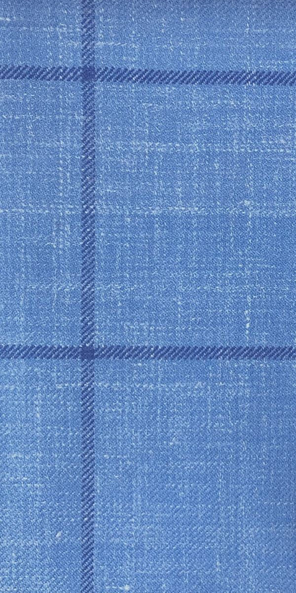 Baby Blue Windowpane Wool Mix Suit