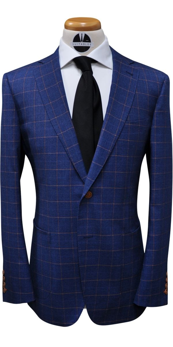 Sapphire Blue with Orange Windowpane Wool Suit