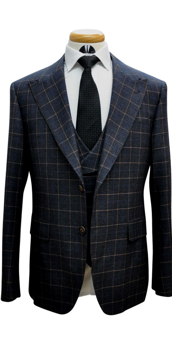Charcoal with Orange Windowpane Wool Suit