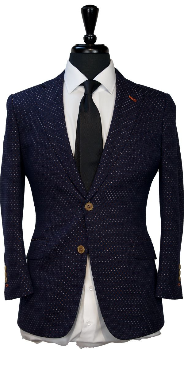 Blue with Orange Polka Dot Wool Suit