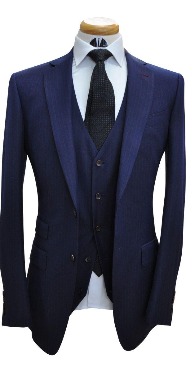Navy Blue With Orange Pinstripe Wool Suit
