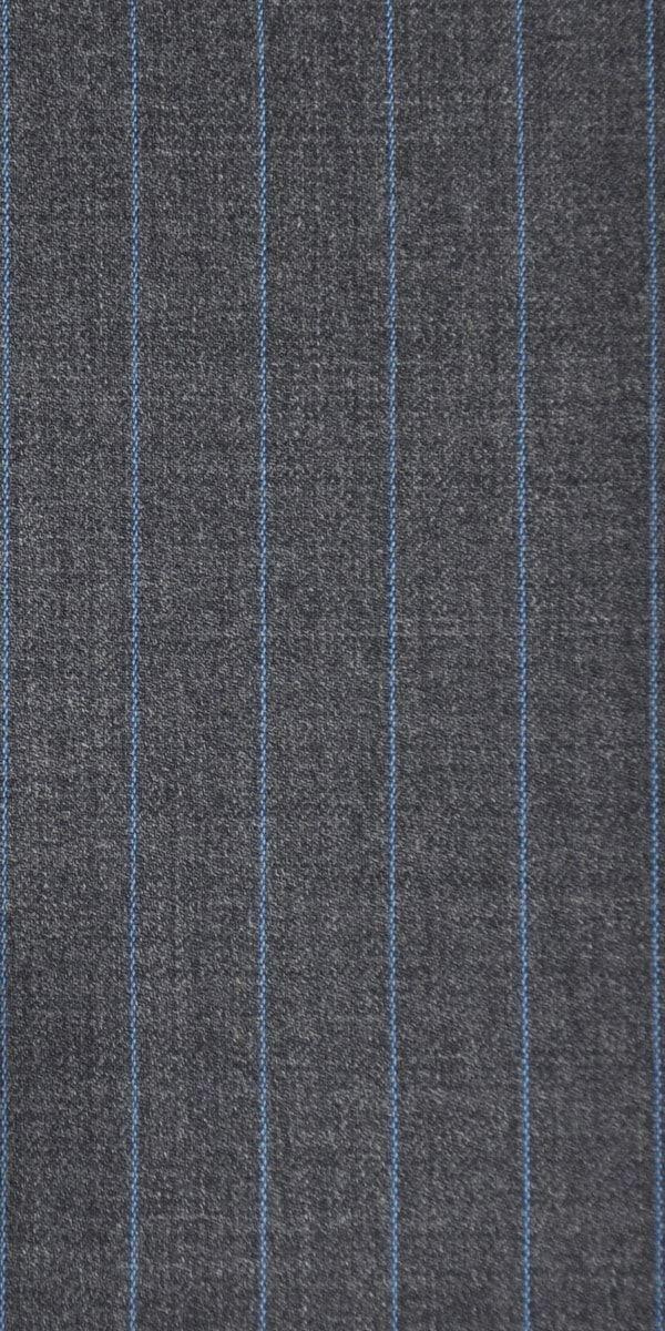 Dark Grey with Blue Pinstripe Wool Suit