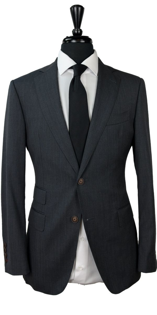 Charcoal Herringbone Wool Suit