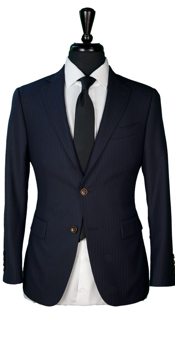 Midnight Blue Subtle Stripe Wool Suit