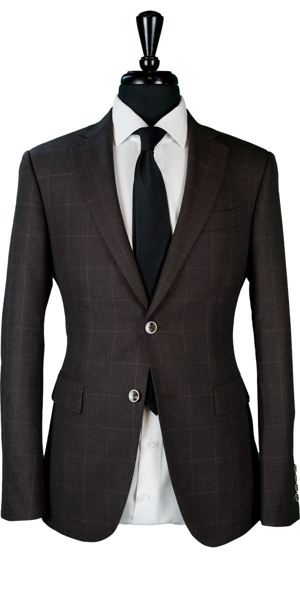 Brown Chambray Windowpane Wool Suit