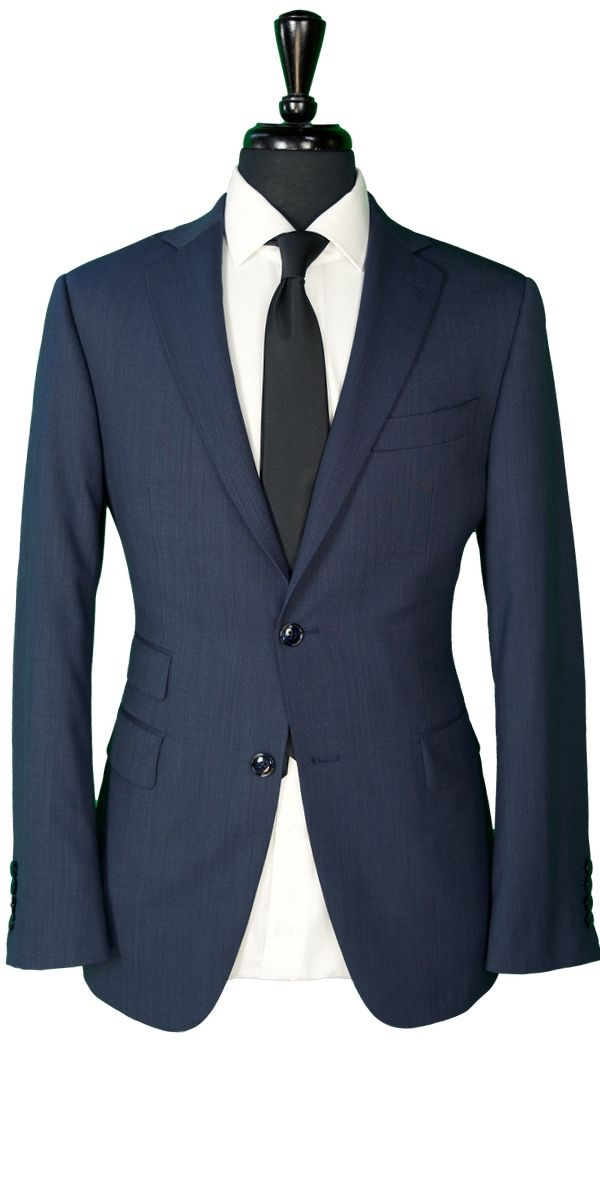 Blue Hopsack Wool Suit
