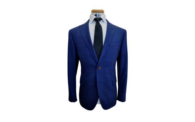 Cobalt Blue Windowpane Custom Wool Suit