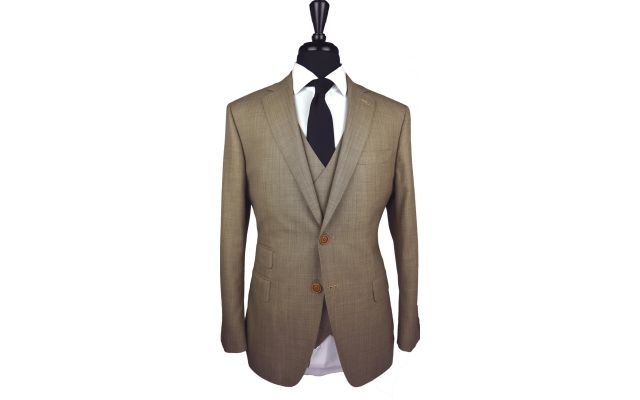 Camel Herringbone Wool Suit