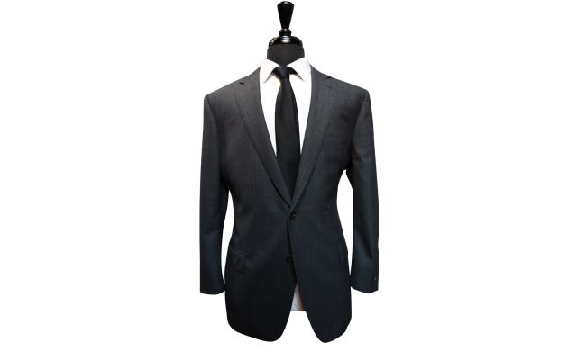 Grey Herringbone Wool Suit
