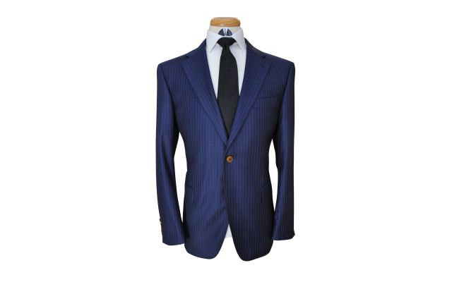 Navy Blue with Gold Pinstripe Wool Suit