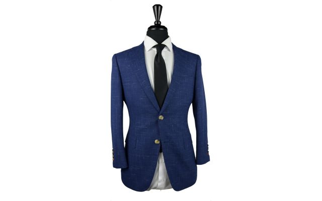 Blue Canvas Wool Suit