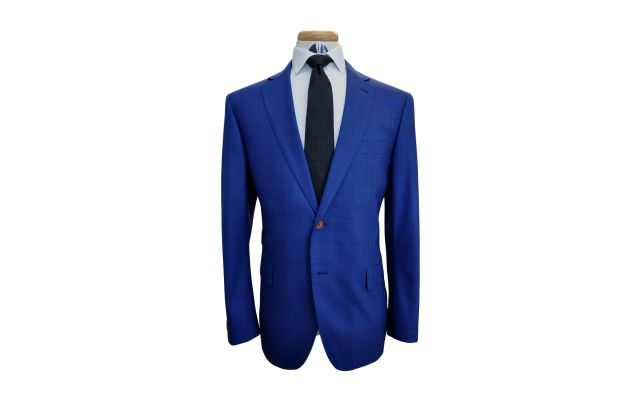 Egyptian Blue with Burgundy Windowpane Wool Suit