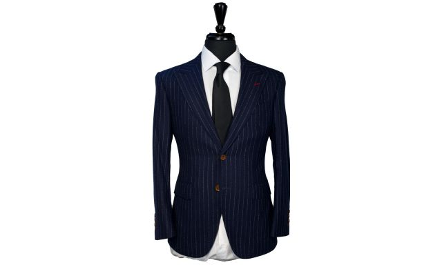 Navy Blue Fuzzy Pinstripe Wool Suit