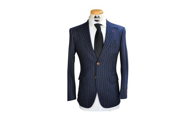 Navy Blue Fuzzy Pinstripe Custom Wool Suit