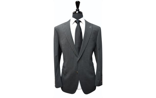 Charcoal Pinstripe Wool Suit
