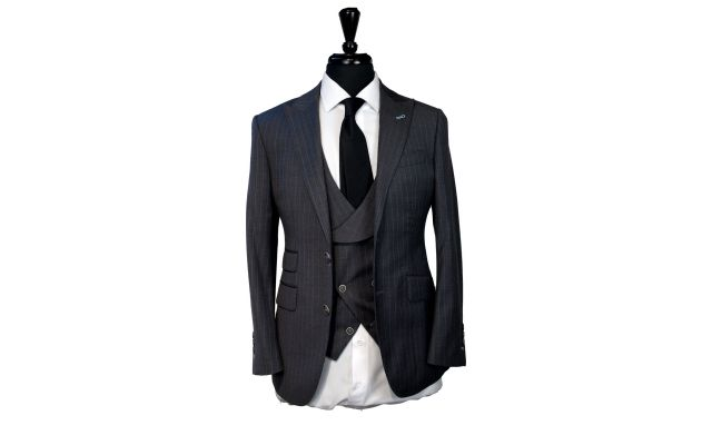 Dark Grey with Blue Pinstripe Wool Suit