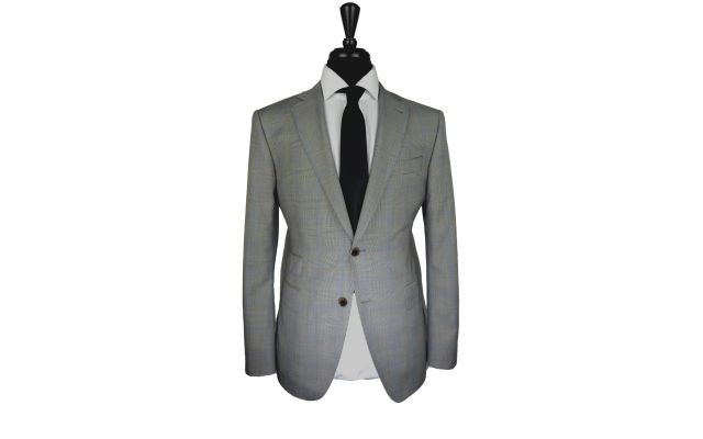 Prince of Wales Blue Windowpane Wool Suit