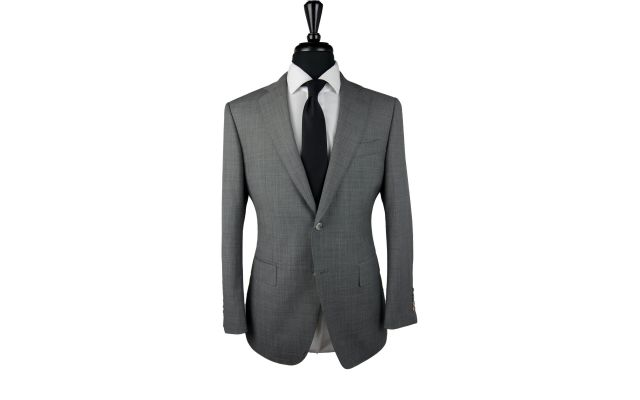 Grey Sharkskin Wool Suit