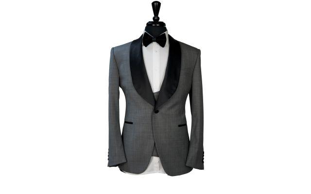 Classic Grey Sharkskin Wool Tuxedo