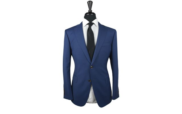 Blue Sharkskin Wool Suit