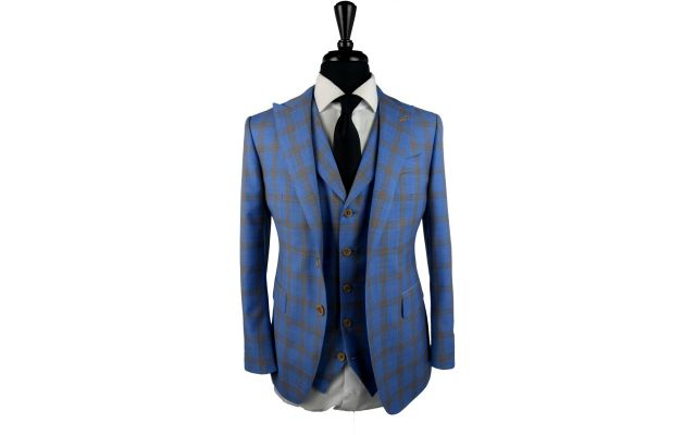 Sky Blue with Yellow Check Wool Suit