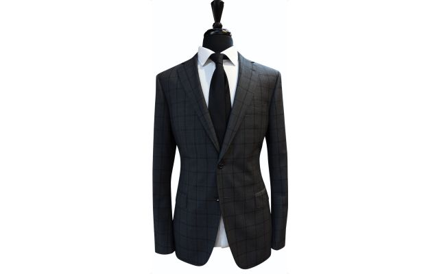 Charcoal Windowpane Wool Suit