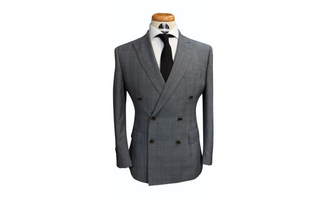 Grey Prince of Wales Glencheck Double-breasted Suit