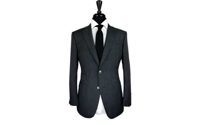 Dark Grey Prince of Wales Wool Suit