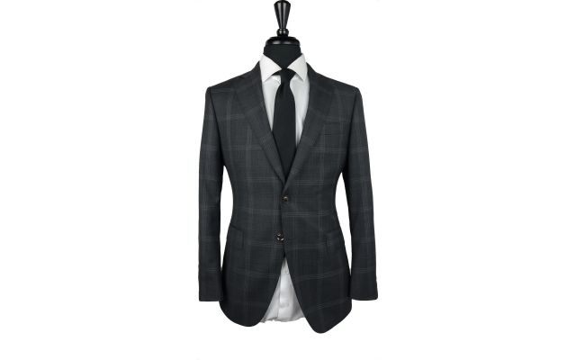 Dark Grey Large Windowpane Wool Suit