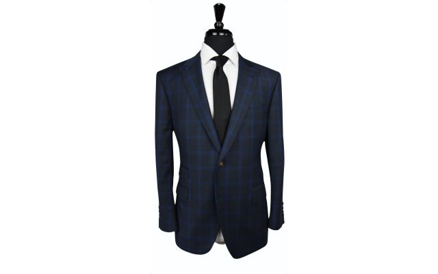 Charcoal with Blue Windowpane Wool Suit
