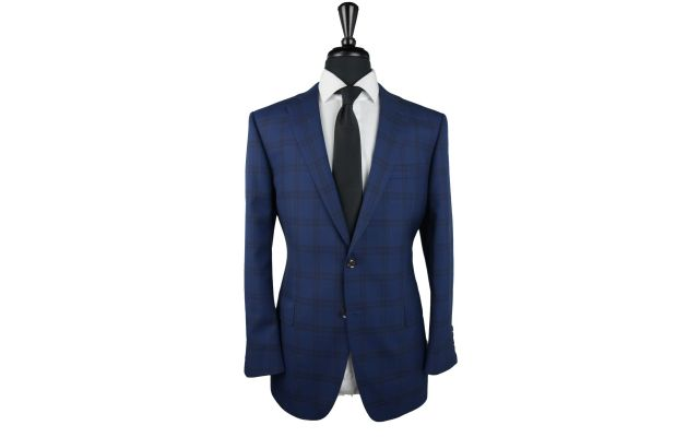 Royal Blue Plaid Wool Suit
