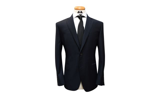 Midnight Blue Subtle Pinstripe Wool Suit