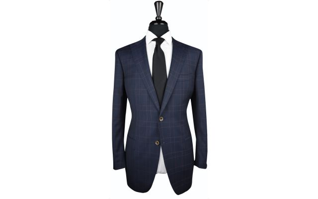 Blueish Charcoal Plaid Wool Suit