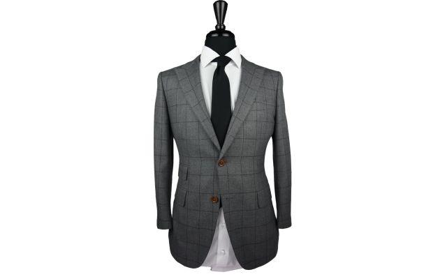 Grey with Burgundy Windowpane Wool Suit