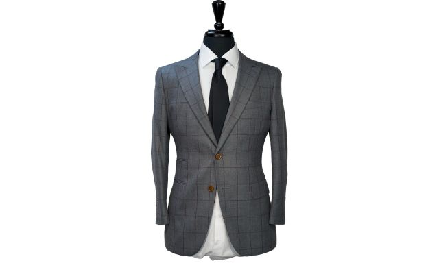 Grey with Burgundy Windowpane Wool Suit