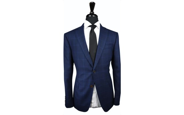 Blue Windowpane Canvas Wool Suit