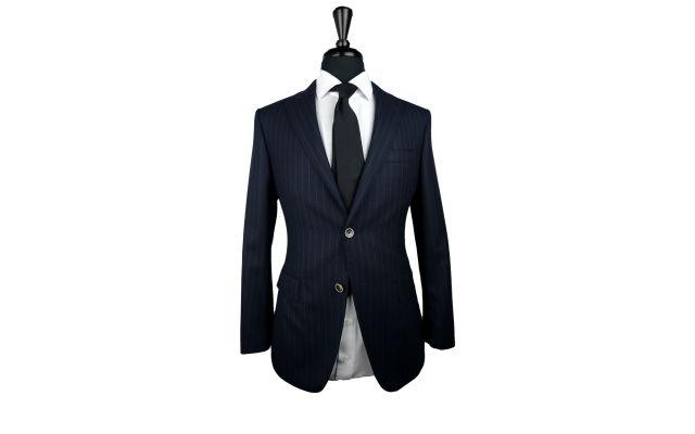 Berry Blue Pinstripe Twill Wool Suit