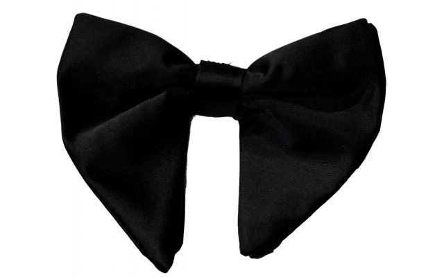 Large Black Butterfly Silk Bowtie