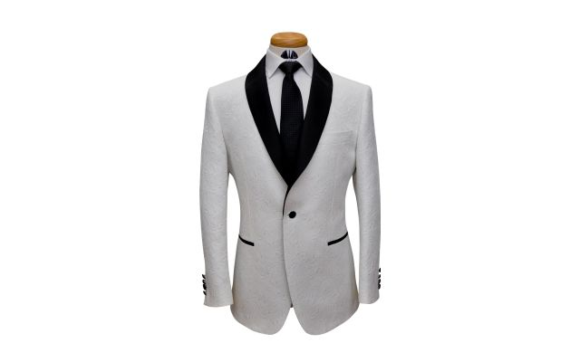 Off White Paisley Custom Jacquard Suit