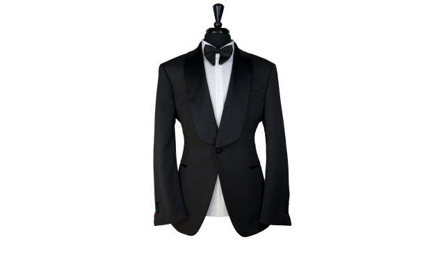 Black Cubic Jacquard Tuxedo