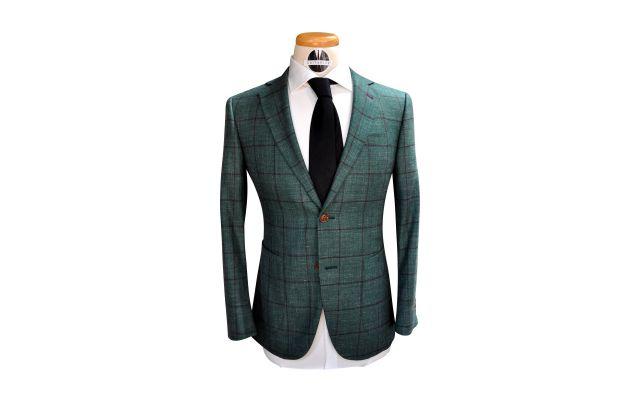 Green Windowpane Wool Mix Suit