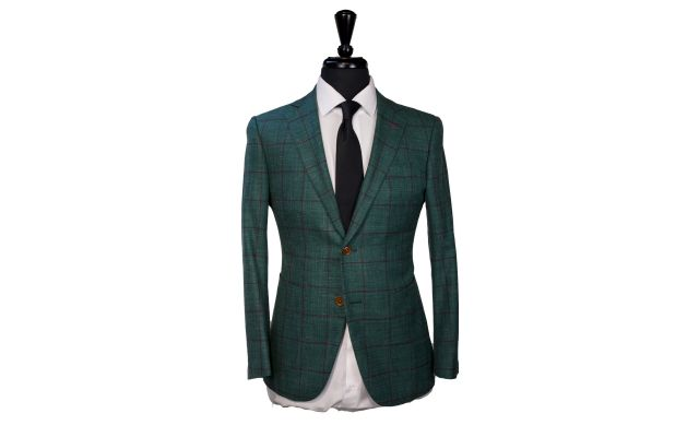 Green Windowpane Wool Mix Suit