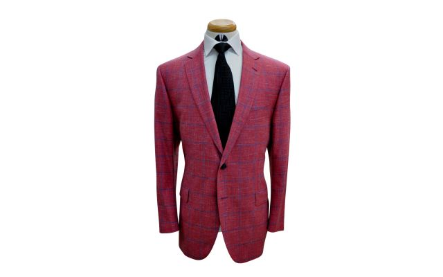Watermelon Windowpane Wool Mix Suit