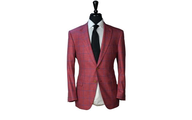 Watermelon Windowpane Wool Mix Suit