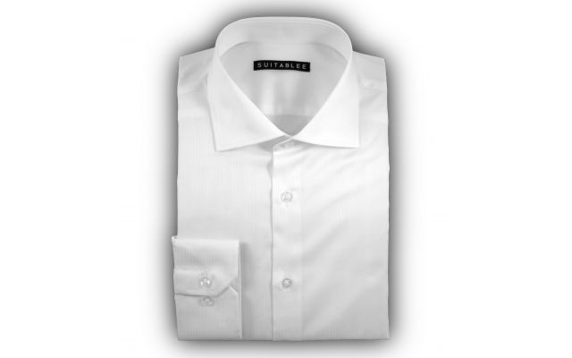 White Micro-Herringbone Dress Shirt