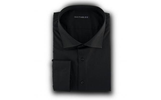 Black Poplin Dress Shirt