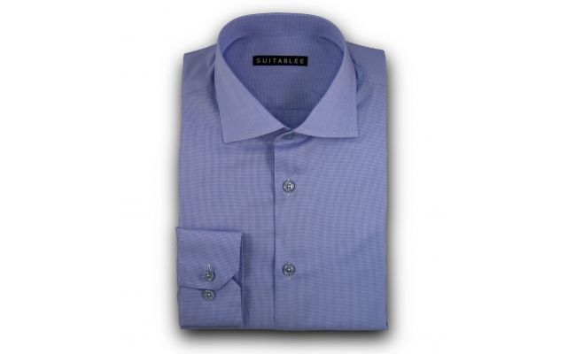 Blue Mini-Houndstooth Dress Shirt