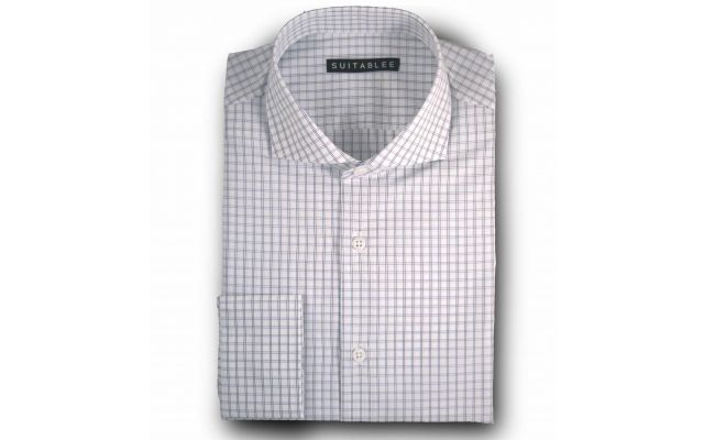 Off-White Poplin Check Dress Shirt